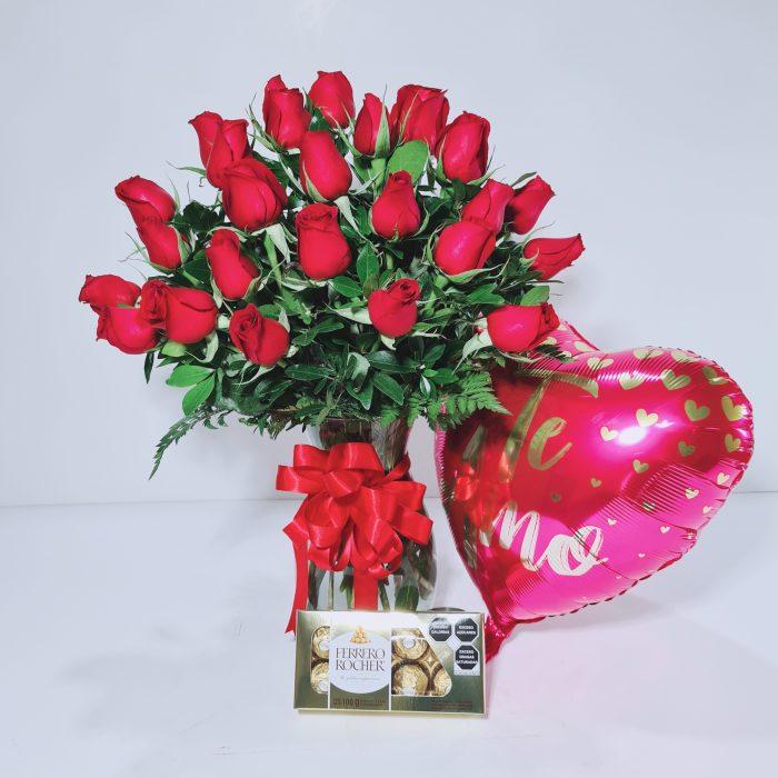 Combo rosas rojas y chocolates