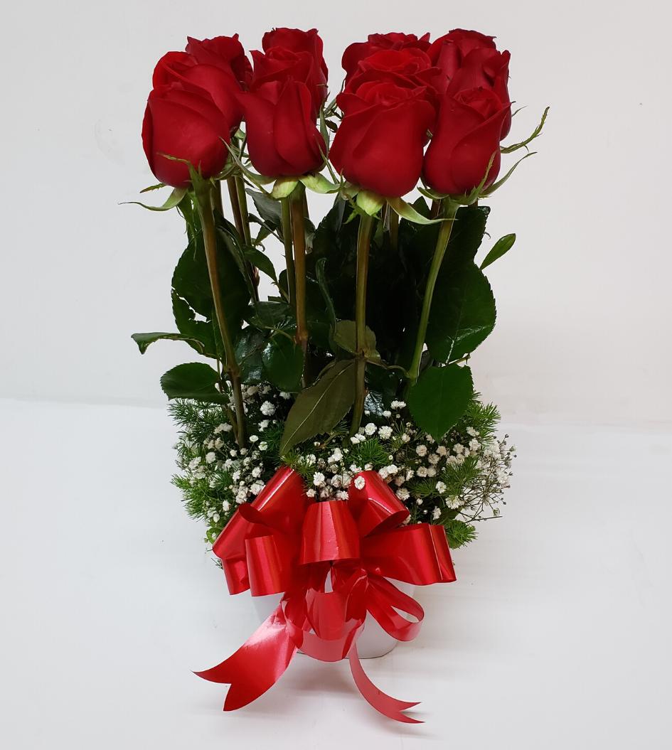 Arreglo con rosas rojas 16 piezas