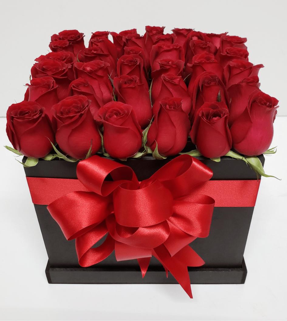 Caja de rosas rojas 36 piezas