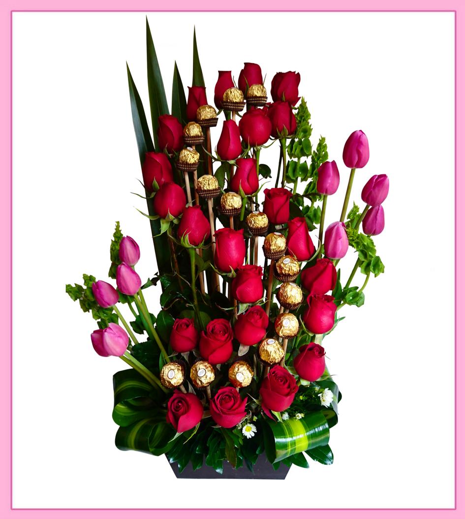 Arreglo De Flores Naturales Rosas Y Tulipanes 34 Piezas