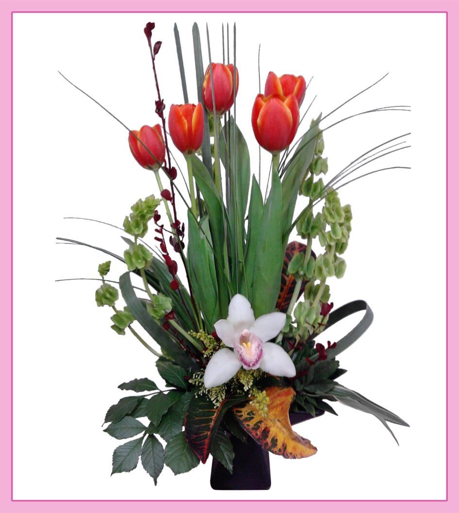 Arreglo Floral De Tulipanes Mixto 5 Piezas