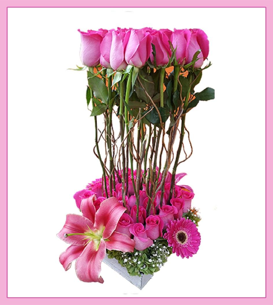Arreglo De Rosas Color Rosa 37 Piezas