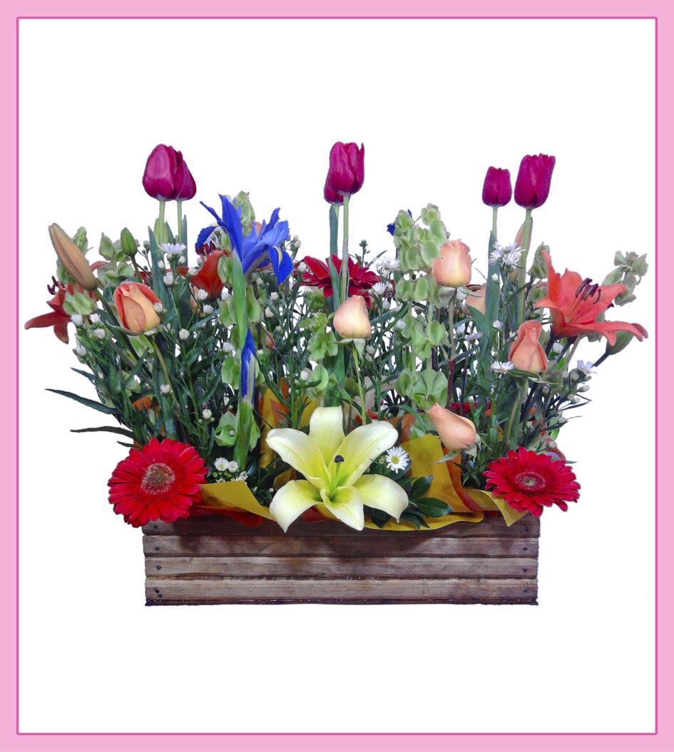 Arreglo Floral Mixto De Tulipanes Rosas Gerberas Y Lilis