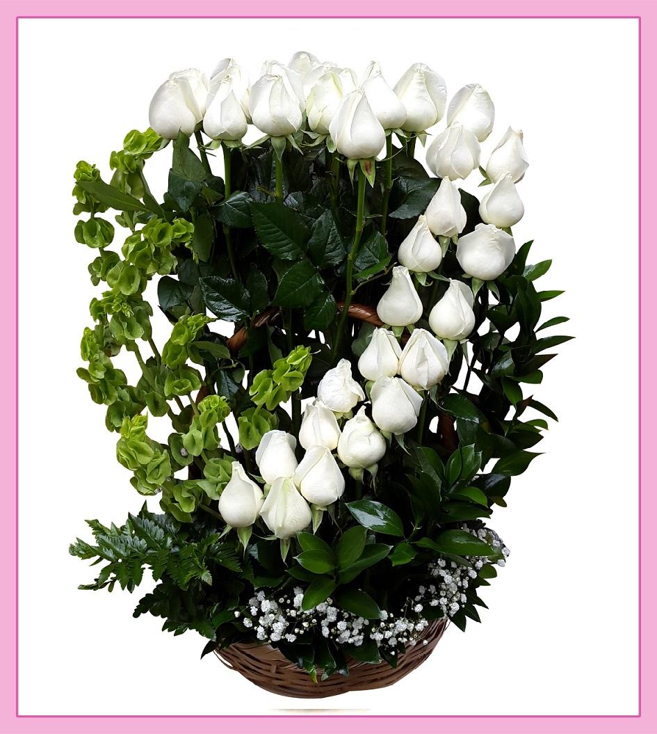 Arreglo De Flores Rosas Blancas 36 Piezas