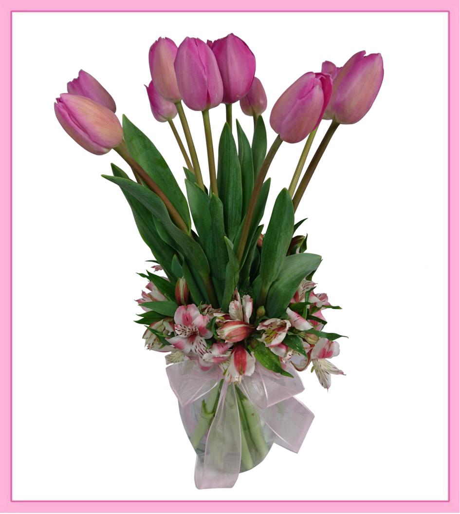 Arreglo De Tulipanes En Florero 10 Piezas