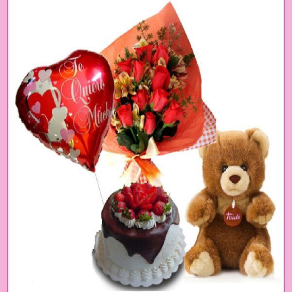Regalo a domicilio, rosas, pastel y oso