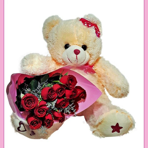 Regalo osos y rosas rojas
