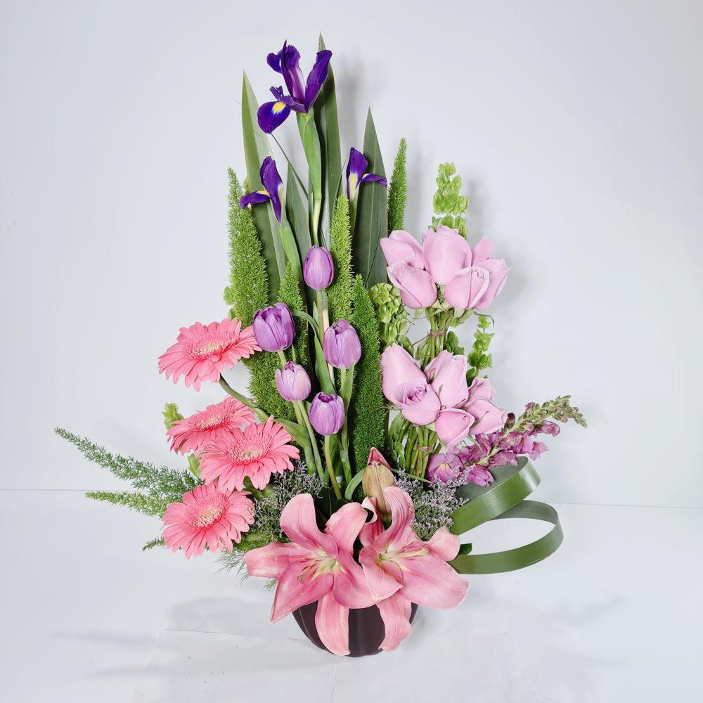 Arreglo de Tulipanes 4 piezas color rosa