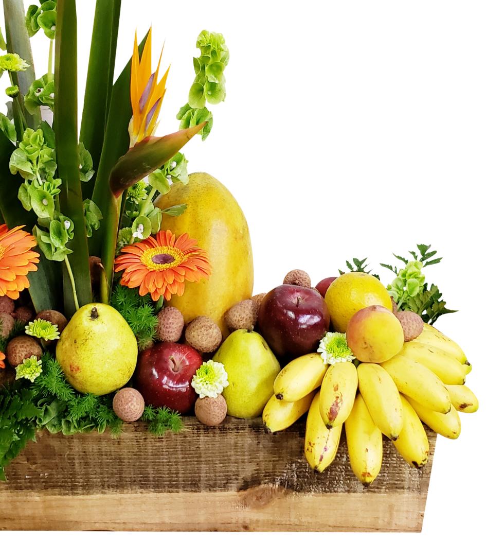 Canasta de flores y frutas mixtas varias piezas