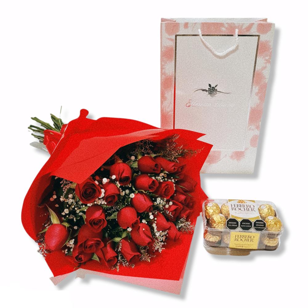Bouquet de 24 rosas con caja de chocolates ferrero