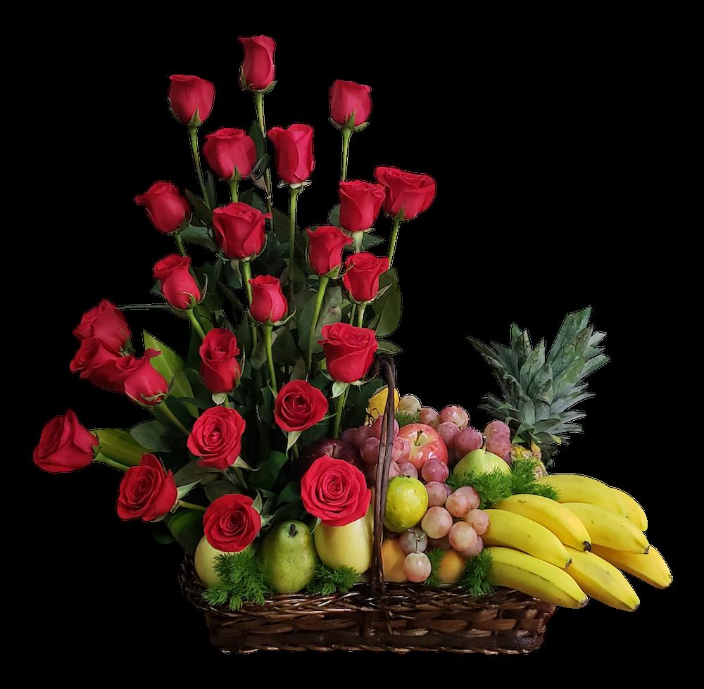 Canasta de frutas y rosas