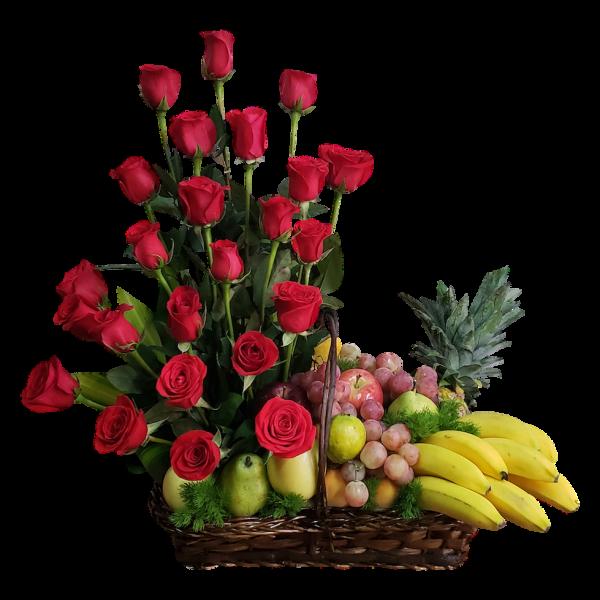 Arcón navideño rosas y frutas