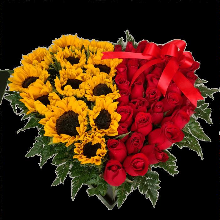 Arreglo de rosas rojas y girasoles