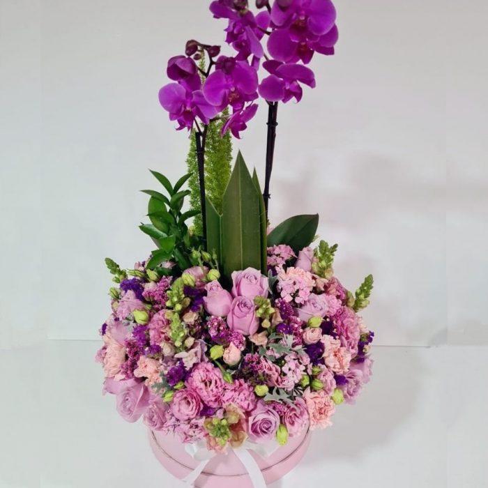 Caja de rosas y orquídeas Flores para Mamá